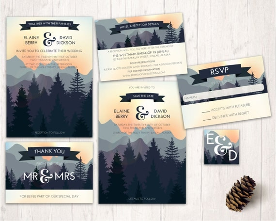 Nature Themed Wedding Invitations Mountain Wedding Invitations Nature Inspired Wedding