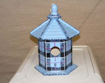 Adorable Scottish Tartan Light Blue Birdhouse