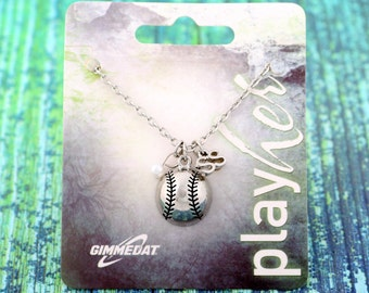 Customizable Silver Baseball Shortstop Necklace - Personalize with Jersey Number, Heart Charm, or Letter Charm! Great Baseball Mom Gift!