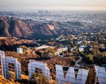 Back of the Hollywood Sign, overlooking Downtown Los Angeles and Griffith Observatory