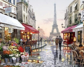 Painting on canvas, Acrylic Painting - Together in Paris, Eiffel Tower, Paris street
