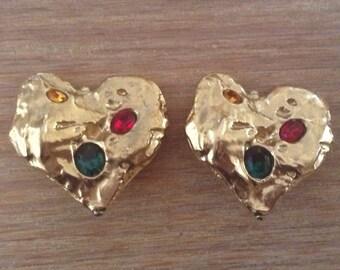 Yves Saint Laurent YSL original heart / heart earrings earrings
