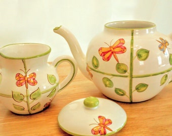 Vintage Ceramic Butterfly Design Teapot and Creamer, Hand painted in Italy, Present Tense Hand Painted Ceramics by Kim Morgan