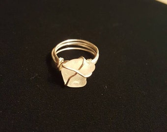 Wire wrapped beach glass ring - Sterling silver size 9