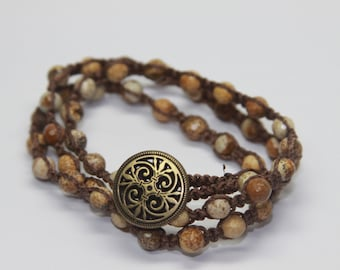Picture Jasper Triple Wrap with Brass Scroll button.