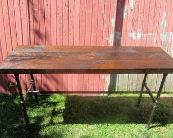 Reclaimed wood Industrial console table, sofa table, bar table