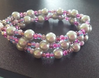 Tri-strand Pearl and Seed Bead Bracelet