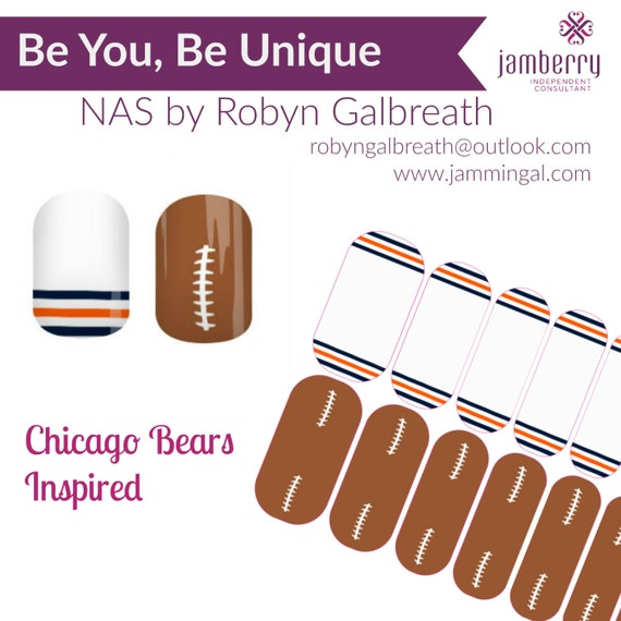 Chicago Bears Inspired Nail Art Studio by JamminGal on Etsy