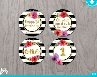 Black, White and Gold with Flowers One Year Print Yourself Cupcake Toppers, Printable Party Circles, 1st Birthday Cupcake toppers