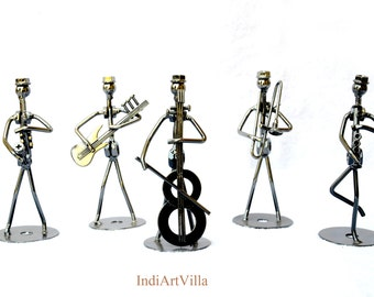"5"" Scrap Metal Musical Statues set of five for collection and Gift"