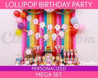 Lollipop Birthday Party Package Collection Set Mega Personalized Printable // Lollipop - B16Pz2