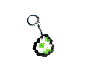 Perler Bead Yoshi Egg, Perler Bead, Yoshi, Egg, Pixel Art, Pixel, 8 bit, Super Mario, Keychain, Magnet, Nintendo, Video Game, Gamer, Retro