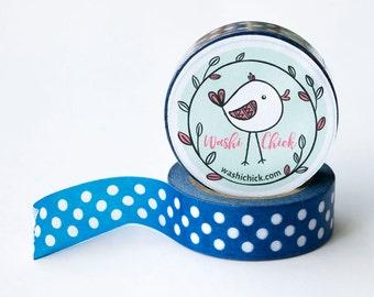 Blue Washi Tape - 1 roll, 15mm x 10m, Planner Tape, Cute Deco Tape