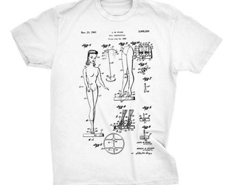 Barbie Patent T-shirt. Barbie Doll T-Shirt. Gift Idea. Barbie Toy Blueprint T-Shirt. Cool T-Shirt. Printed on Soft Cotton Tee, Comfy.