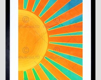 Painting Abstract Sunrise Sun Rays Orange Blue Spokes Poster Print FEBMP11341