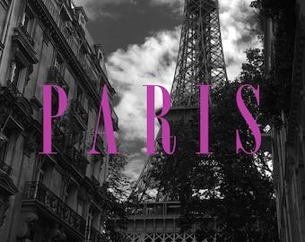 Paris typography on photograph- 8x10 digital download