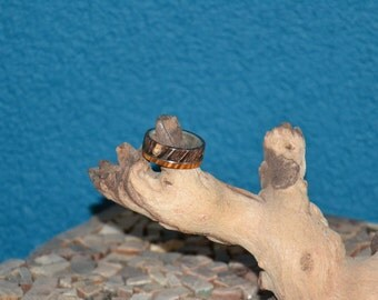 silver ring with maple burl, amboyna burl and a titanium band