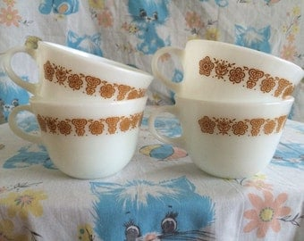 Vintage Corring golden butterfly cups set of four