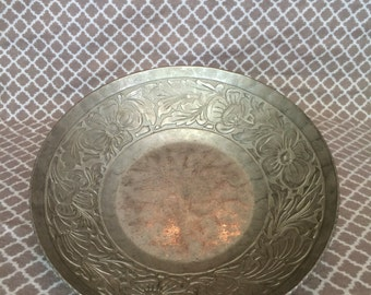 Vintage metal bowl with floral decor - hand forged by everlast metal