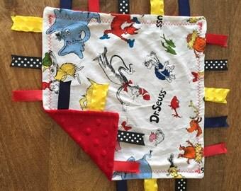 Dr. Suess Cat In The Hat Minky Baby Tag Blanket // Security Blanket // Ribbon Blanket // Teething Blanket