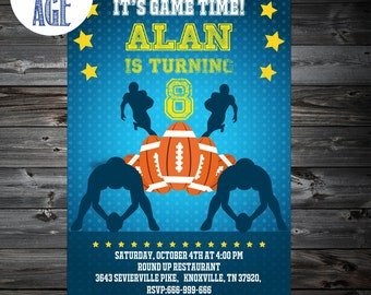 Football Invitation,Football birthday invitation,Printable Football Invitations,Football Invites, kickoff,NFL Party, 1st,2nd,3rd,4th Birtday