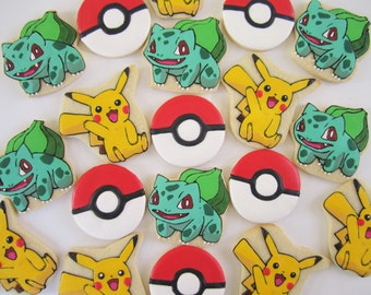 Pokemon Pikachu/Bulbasaur cookies