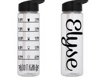 24 oz Water Bottle With Straw & Intake Tracker Inspirational Water Bottle // Water Intake Tracker Bottle // Hydration Fitness Water Bottle