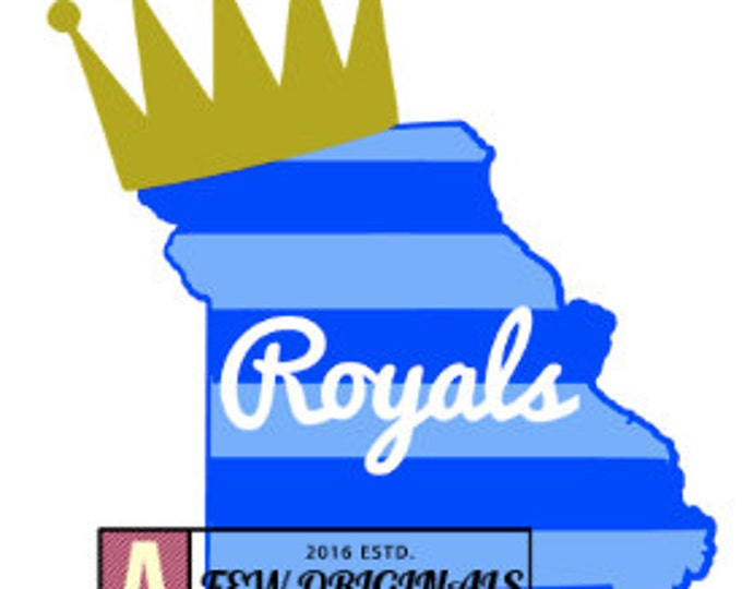 Kansas City Royals/Missouri State Striped/Crown decal - car/Yeti/mug/cup sticker