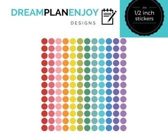 204 bright 1/2 inch round stickers