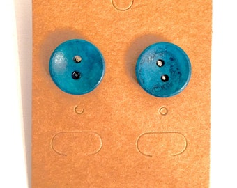 Bright As A Button Earrings - Blue