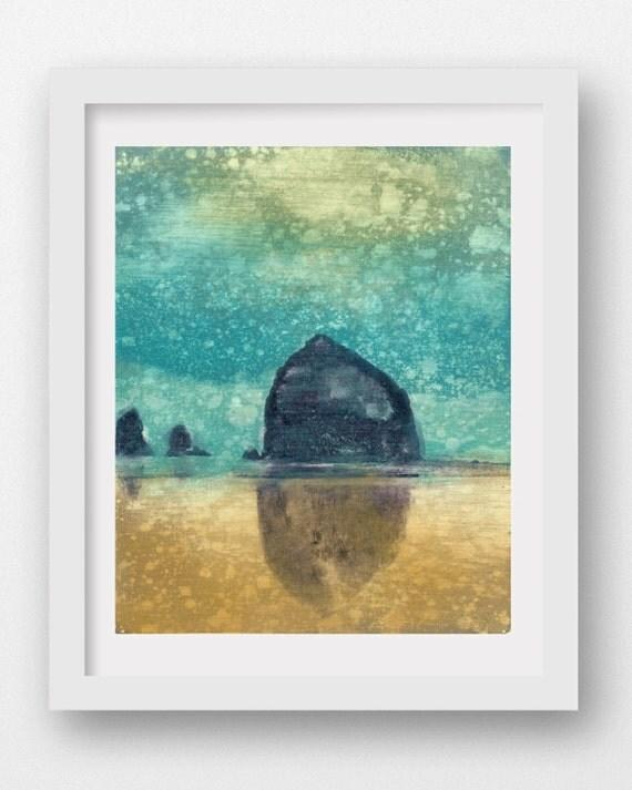 AFTERNOON RAIN, limited edition giclee art print, Haystack Rock, Cannon Beach, Oregon Coast art, coastal art