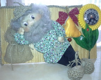 Cloth rag GNOME DOLL with a thermometer HANDMADE!