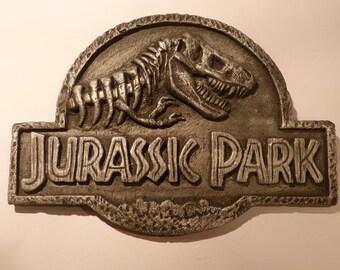 Jurassic Park Plaque- Resin Replica display silver