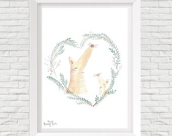 fox kids poster, watercolor illustration, walldecor