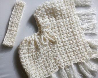 White Poncho pure Australian wool