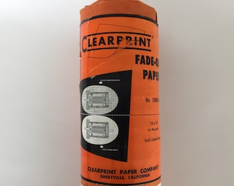 20 yards 24 inch Clearprint 1000H-10 fade-out paper Clearprint paper Co. Emeryville CA vintage drafting engineering technical drafting tools