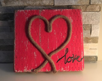 Recycled Wood Love Sign