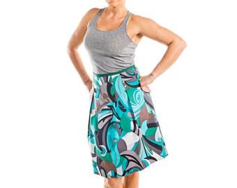 Sea Green Skirt + Gray + Brown Graphic Print A-Line Skirt - 15-065