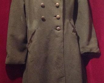 1940s / 1950s Wool Ladies Coat /make - Rensor, London. / 40s / 50s Green Stripe Coat.