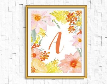 Custom Personalized Name Nursery Printable Monogram Art Print | Custom Nursery Printable Monogram Floral Letter | Boho Floral Baby Gift