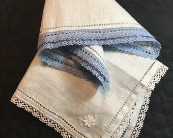 Set of two lady linen handkerchiefs