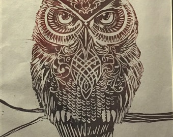 """Celtic Owl Carved Print 14""""x20"""" Unframed customized colors up to three colors"""