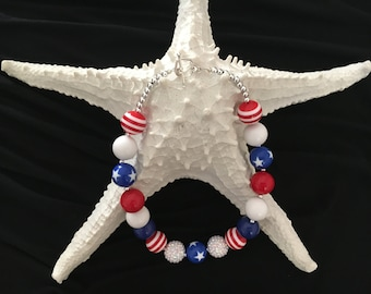 Patriotic Red, White and Blue BubbleGum Necklace!