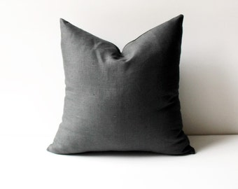 Charcoal Pillow,  Linen Pillow Cover, Pillow Covers 20x20, 18x18, 16x16, 24x24, Grey Linen Pillows