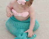 Sale!! 3 Piece Mermaid Tail Costume,Outfit, Photo Prop, Blanket, Tail, Crochet- Quick to ship!!