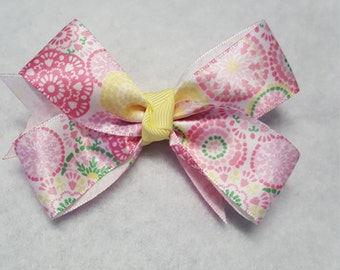 Summer hairbows, Girls Pink hairbow, patterned hairbows, multi-colored bow, Toddler hairbows, Girls hairbows, Flower hairbows, Spring bows