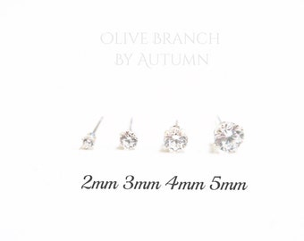 Sterling Silver CZ Stud Earrings | Cubic Zirconia Silver Stud Earrings| Minimal Earrings | 2mm, 3mm, 4mm, 5mm Stud Earrings