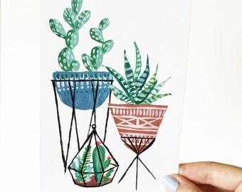 Botanical Cactus Illustration, Terrarium Print, Cactus Print, Botanical Decor, Botanical Print, Tropical Print, Tropical Illustration