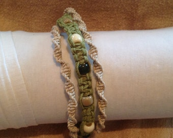 Lime Green and Cream Spiral & Square Knot Triple Bracelet