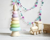 pastel colors stacking toy - toddler pastel room decoration - wooden stacking pyramid - toddler learning tower - girls pastel room decor